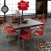 "Dusk 59"" Square Chocolate Finish Minimalist Contemporary Dining Table"