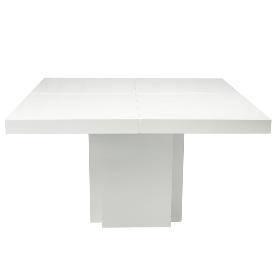 "Dusk 59"" White Contemporary Dining Table Up Front"