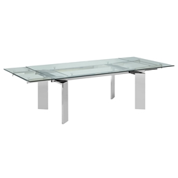 Eastland Stainless Steel + Clear Glass Modern Extension Dining Table