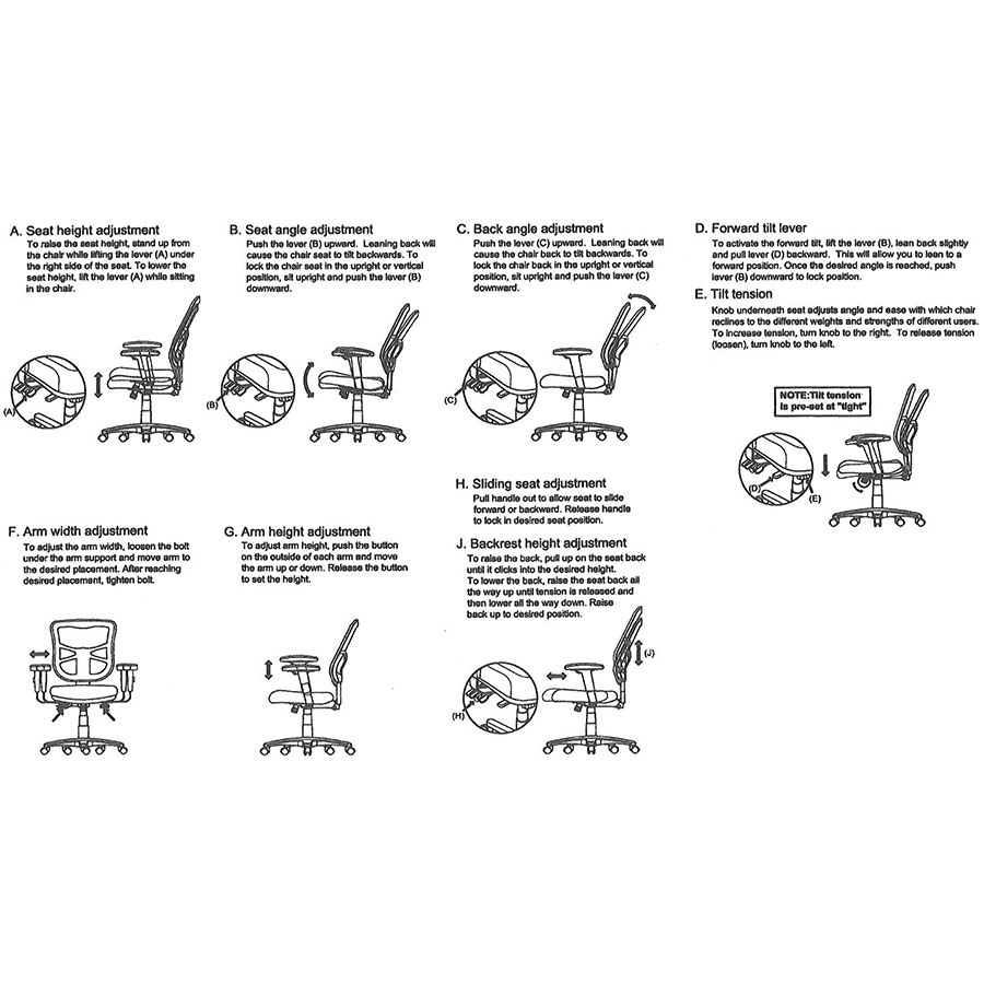 Easton Office Chair Levers Diagram