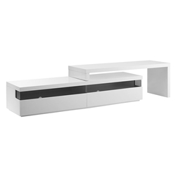 Eastwood White Lacquer + Glass Modern Adjustable Entertainment Center