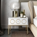 Eberley Contemporary White + Gold Nightstand