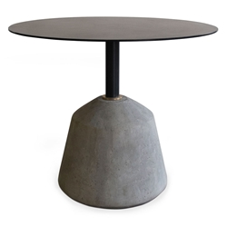 Edcouch Black Steel + Gray Concrete Round Contemporary Detail