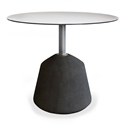 Exeter Large Side Table Black Cocnrete + Brushed Steel Round Modern End Table