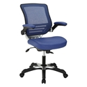 Ede Blue Leatherette + Mesh Modern Ergonomic Office Chair