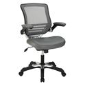 Ede Gray Leatherette + Mesh Modern Ergonomic Office Chair