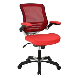 Ede Red Leatherette + Mesh Modern Ergonomic Office Chair