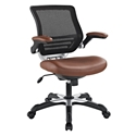 Ede Tan Leatherette + Mesh Modern Ergonomic Office Chair