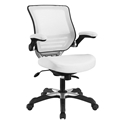 Ede White Leatherette + Mesh Modern Ergonomic Office Chair