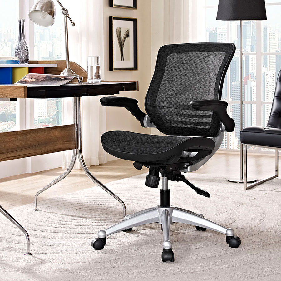 Ede Contemporary Black Mesh Office Chair