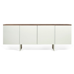 Edge Walnut Top + White Body Modern Sideboard by TemaHome