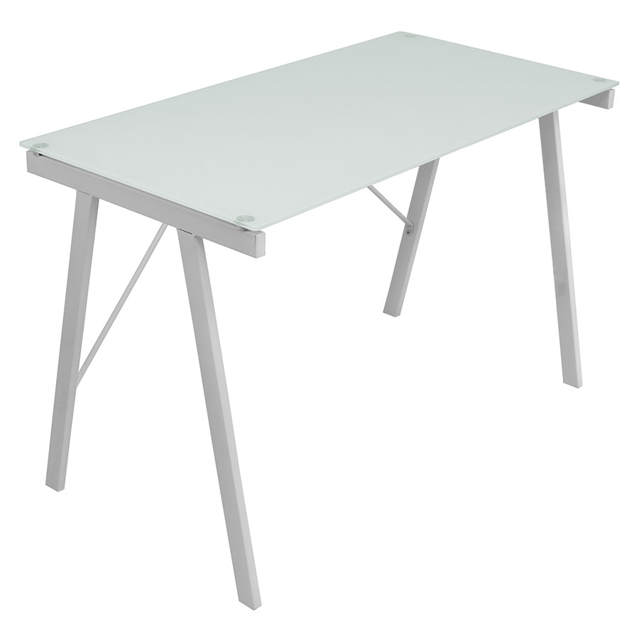 Edie Modern White Glass Top Desk