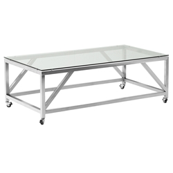 Edmonton Modern Stainless Steel + Glass Coffee Table