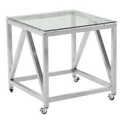 Edmonton Modern Stainless Steel + Glass End Table