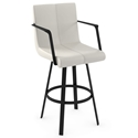 Edward Modern Bar Stool by Amisco in Black Coral + Grigio