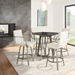Edward Modern Swivel Counter Stool - Titanium + Grigio