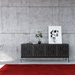 Elements 4 Door Modern Media Console by BDI in Wheat and Charcoal in Room Setting