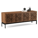 BDI Elements Modern 4 Door Media Console with Wheat Doors in Walnut in Room Setting