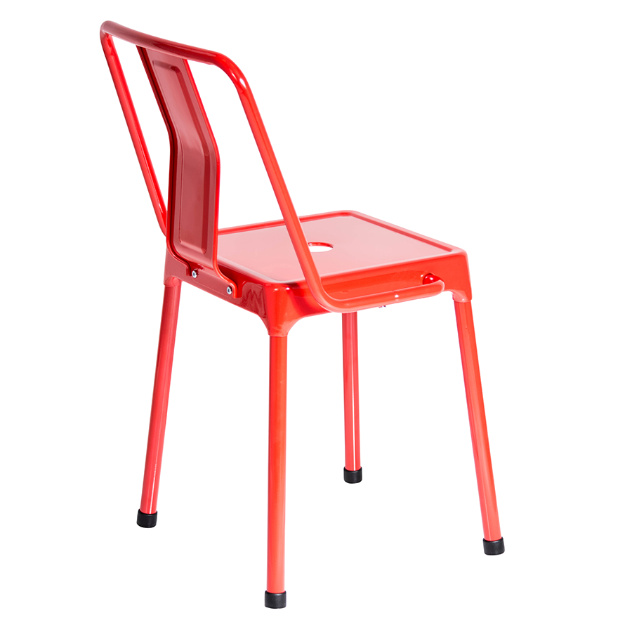Red modern chairs -  Elian Red Metal Contemporary Side Chair