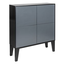 Elie Black + Gray Lacquer Modern Tall Cabinet