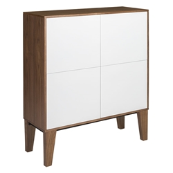 Elie White Lacquer + Walnut Veneer Modern Tall Cabinet