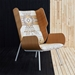 Gus* Modern Elk Chair in Oak Formed Plywood and Canyon Lands Desert Sunbrella Upholstery - Room Shot