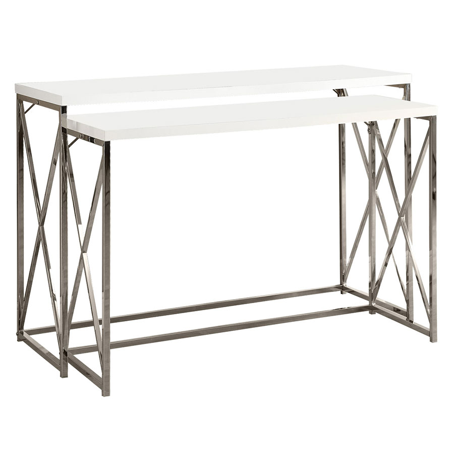 ella modern white u0026 chrome nesting console tables