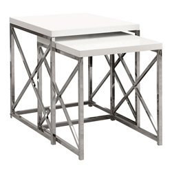 Ella Modern White & Chrome Nesting End Tables