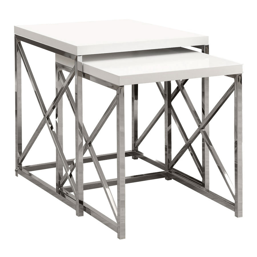 Modern nesting tables ella nesting end table eurway call to order ella modern white chrome nesting end tables watchthetrailerfo