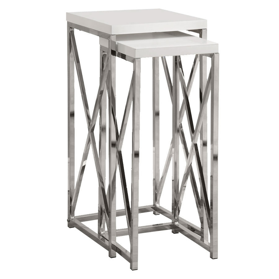 Modern nesting tables ella pedestal tables eurway call to order ella modern white chrome nesting pedestals watchthetrailerfo