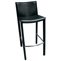 Ellis Modern Bar Stool in Black Bonded Leather