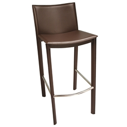 Ellis Modern Bar Stool in Brown Bonded Leather