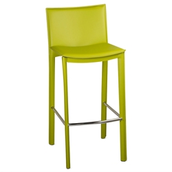 Ellis Modern Bar Stool in Green Bonded Leather