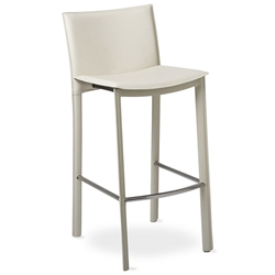 Ellis Modern Bar Stool in Ivory Bonded Leather