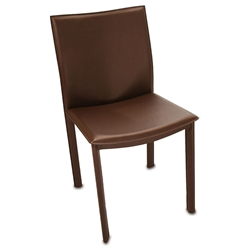 Ellis Modern Dining Chair in Brown Bonded Leather