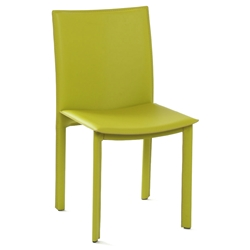 Ellis Modern Dining Chair in Green Bonded Leather