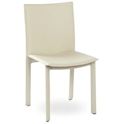 Ellis Modern Dining Chair in Ivory Bonded Leather