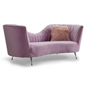 Ellwood Velvet Sofa in Blush Upholstery with Pillows