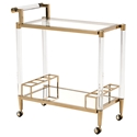 Elmer Clear Acrylic and Glass + Gold Stainless Steel Modern Serving Cart