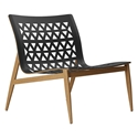 Elmstead Teak Wood + Black Genuine Leather Modern Lounge Chair