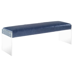 Elphin Blue Faux Leather + Clear Acrylic Modern Bench
