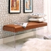 Elphin Brown Faux Leather + Clear Acrylic Contemporary Bench