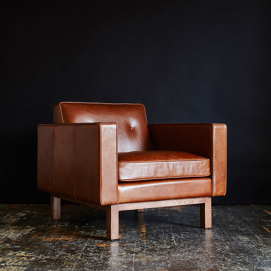 modern leather chair. Gus* Modern Embassy Mid-Century Arm Chair In Saddle Brown Top Grain Leather With W