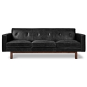 Gus* Modern Embassy Modern Sofa in Saddle Black Leather with Solid Walnut Wood Base