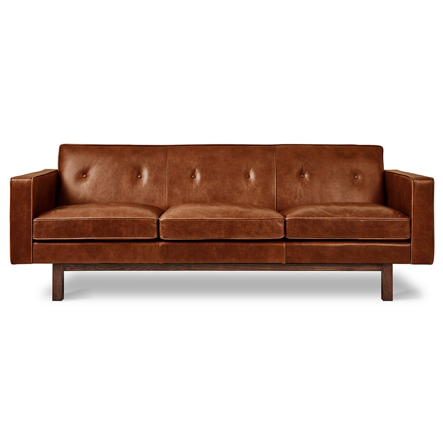 Gus* Modern Embassy Mid Century Sofa In Saddle Brown Leather With Solid  Walnut Base