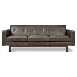 Embassy Gray Top Grain Leather + Solid Walnut Mid Century Modern Style Sofa by Gus* Modern