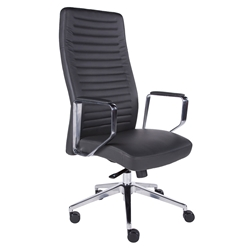 Edna Dark Gray Leatherette + Polished Aluminum Executive Modern Office Chair