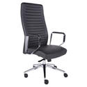 Emory Dark Gray Leatherette + Polished Aluminum Executive Modern Office Chair