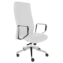 Edna White Faux Leather + Polished Aluminum Modern High Back Office Chair