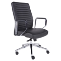Emory Dark Gray Faux Leather + Polished Aluminum Modern Low Back Office Chair